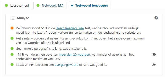 Yoast - Leesbaarheidsanalyse