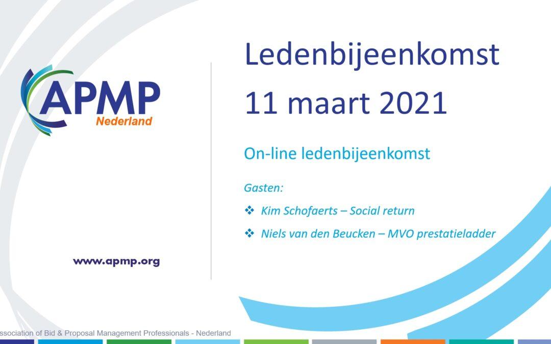Ledenbijeenkomst 11 maart 2021